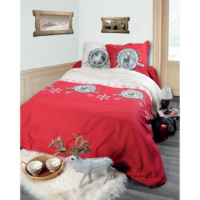 housse de couette morillon rouge 240 x 260 avec taies 100 coton achat vente housse de. Black Bedroom Furniture Sets. Home Design Ideas