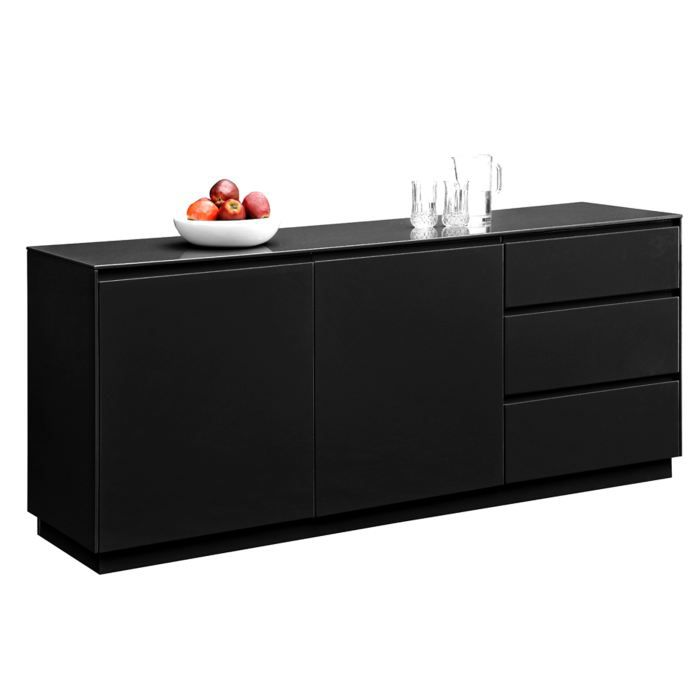 buffet noir moderne 2 portes et 3 tiroirs gaelle 3 achat vente buffet bahut buffet noir. Black Bedroom Furniture Sets. Home Design Ideas