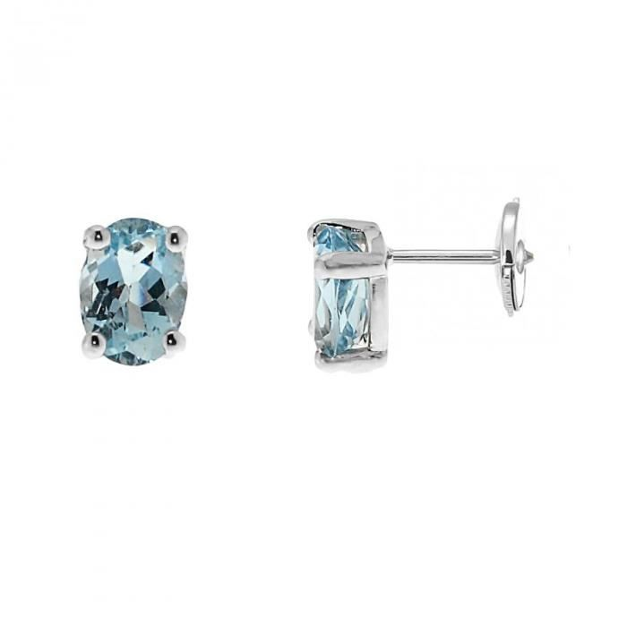 3 ct véritable Aigue-marine et diamants ovale cœur clous d/'oreilles or blanc argent