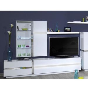 meuble tv led blanc achat vente meuble tv led blanc pas cher cdiscount. Black Bedroom Furniture Sets. Home Design Ideas