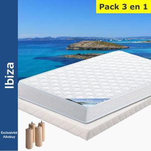 ENSEMBLE LITERIE Ibiza - Pack Matelas + Tapissier 90x190 + Pieds