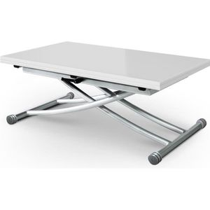TABLE BASSE Table basse relevable Carrera Blanc laqué