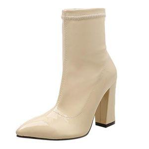 Talon Moyen Bottes bout tube pointu deconfor1579 verni femme Chaussures en Mode cuir épais à 76yIYbfvgm