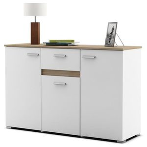 buffet 120 cm blanc achat vente buffet 120 cm blanc pas cher cdiscount. Black Bedroom Furniture Sets. Home Design Ideas