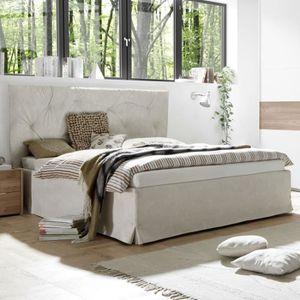 STRUCTURE DE LIT Cadre + Tête de lit 180*200 cm Simili cuir Argile