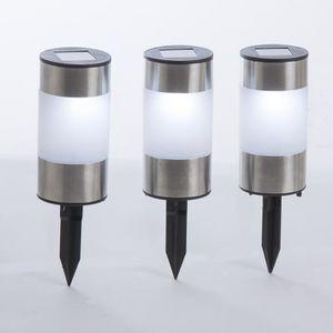 bornes de jardin /à planter 21cm Lot de 3 lampes solaires LED