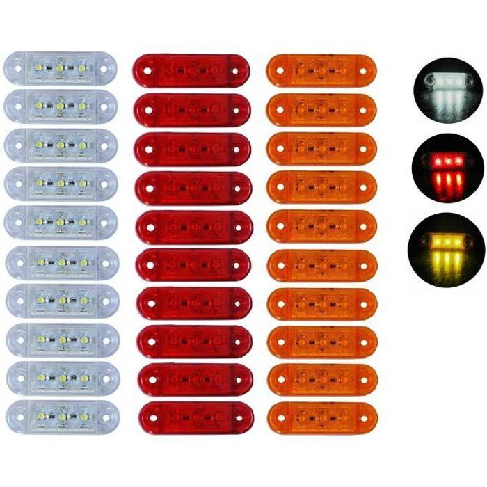 Lot de 30 Feux de Gabarit 12V 24V MIX 3 SMD LED Rouge Orange Blanc Pour Camion Caravane Remorque