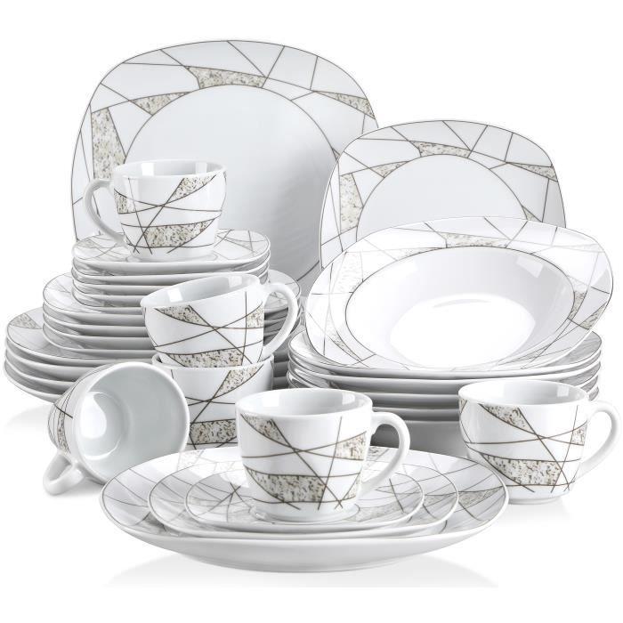 Veweet SERENA 30pcs Service de Table Porcelaine 6pcs pour Assiette Plate, Assiette à Dessert, Assiette Creuse, Tasse avec Soucoupes