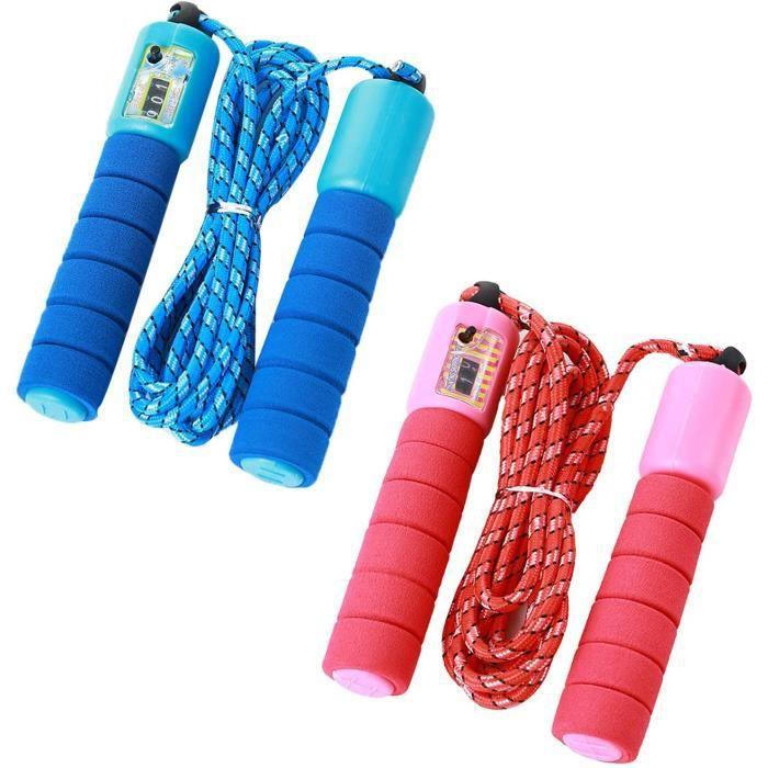 Corde à Sauter pour Enfants, Corde à Sauter 2 pièces avec Compteur et poignées Confortables(Rose et Bleu)