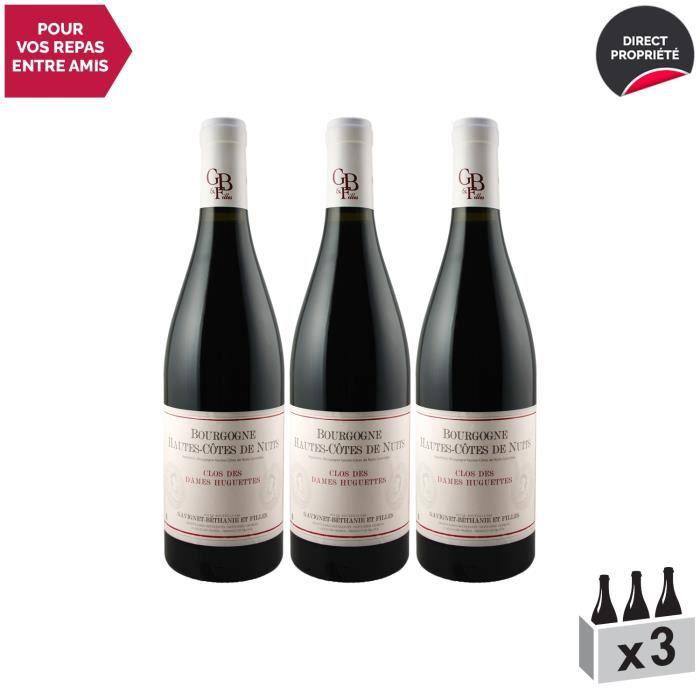 Bourgogne Hautes Côtes de Nuits Clos des Dames Huguettes Rouge 2017 - Lot de 3x75cl - Domaine Gavignet-Béthanie et Filles - Vin AOC