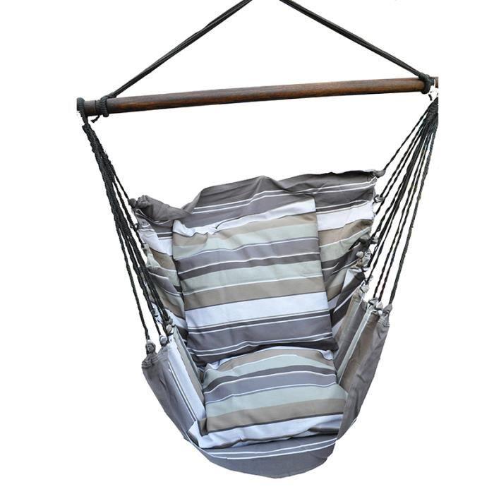 Fauteuil Suspendu - Hamac Chaise - Modèle Adulte/Couple - Avec 2 housses de coussin - Gris/Beige - Maxi 140 kg