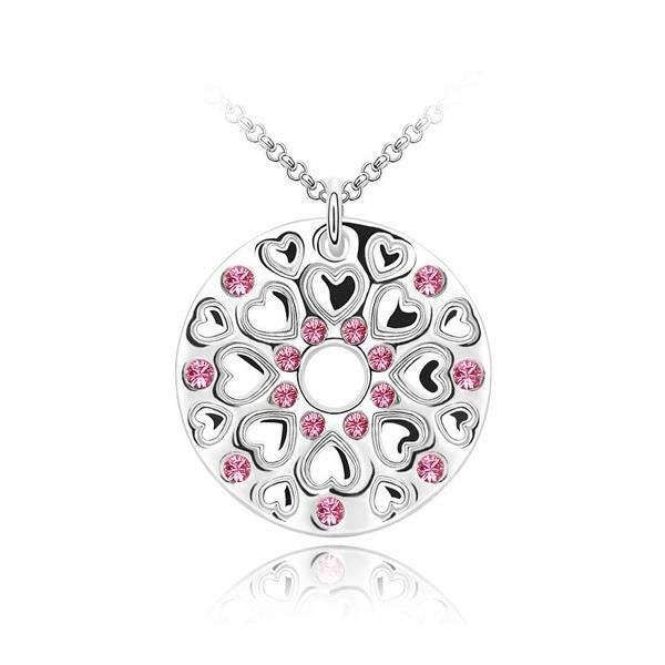 Pendentif Cercle et Coeurs en Cristal de Swarovski Element rose