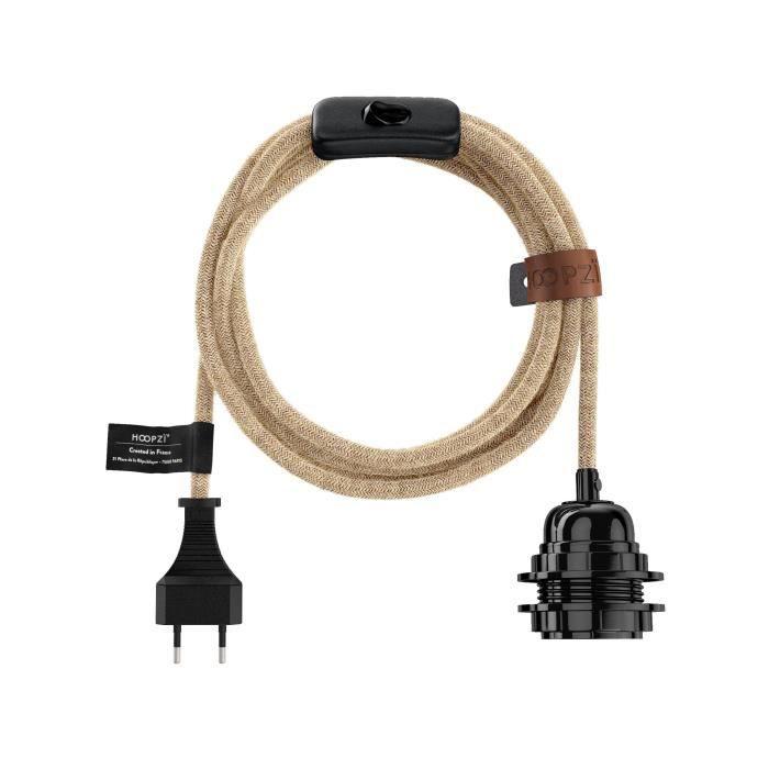 HOOPZI - BALA - Fil électrique tissu 4,5 metres - 38 coloris - Douille E27 avec interrupteur - suspension luminaire - Ficelle