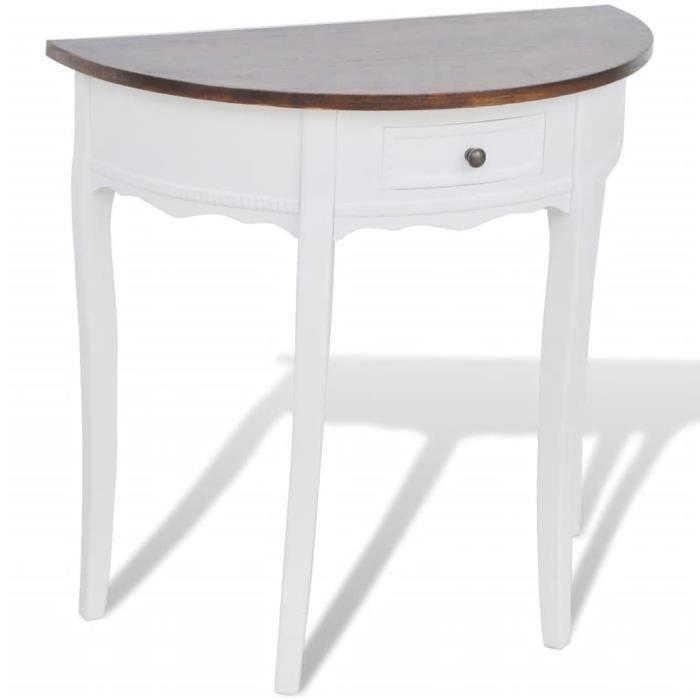 Economique❤ Table console Mode - Table de Salon Armoire console avec tiroir et Plateau De Table marron Demi-ronde ♪♪58867