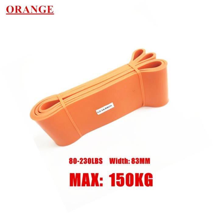 Bandes élastiques de résistance Fitness unisexe 208Cm Yoga Pilates athlétique élastique boucl - Modèle: Orange 83mm - HSJSTLDC03929