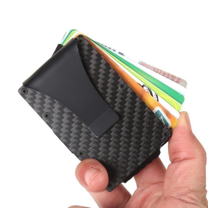 Porte-cartes, portefeuille métal, porte-cartes bancaires, porte-cartes RFID en fibre de carbone noir