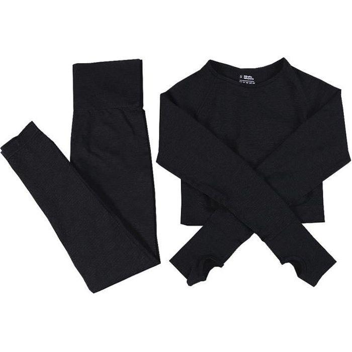 Femmes sans couture Yoga Set Costumes de sport Fitness Gym Vêtements à manches longues cultures shirt de taille en cours Jambières S