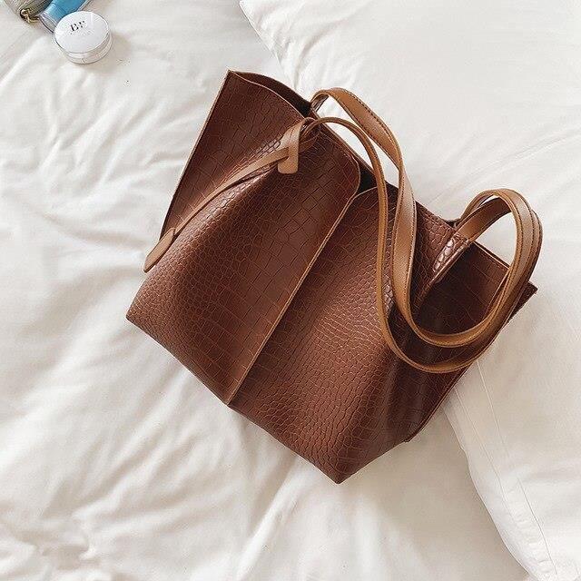 Simple grand sac à main femme 2019 nouvelle vague mode grande capacité sac fourre tout haute qualité PU cuir sauvage sac~E3788