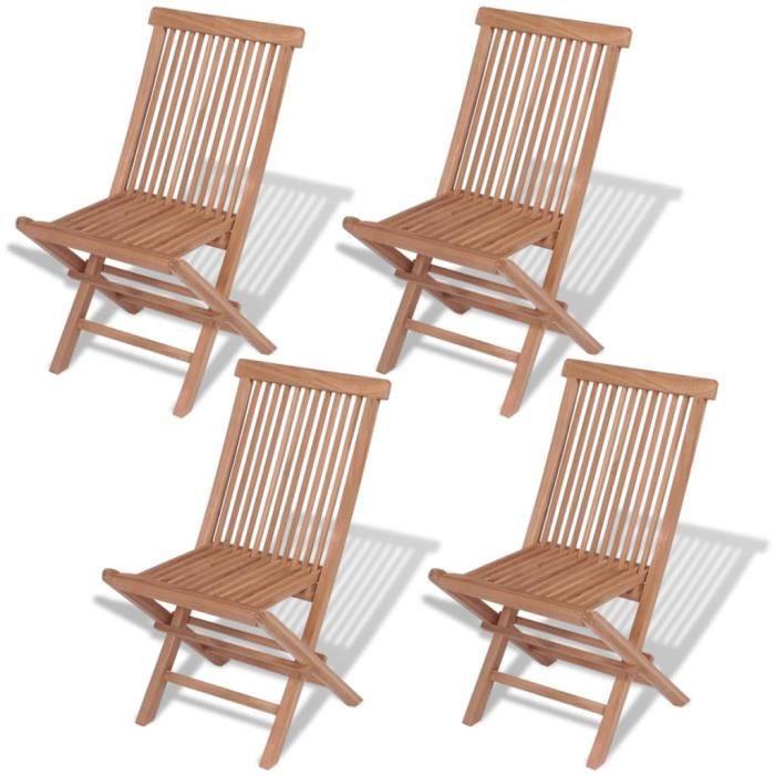 Lot de 4 Chaises de jardin pliables - Fauteuil de Jardin Chaise Bois de teck solide Nouveau *549083