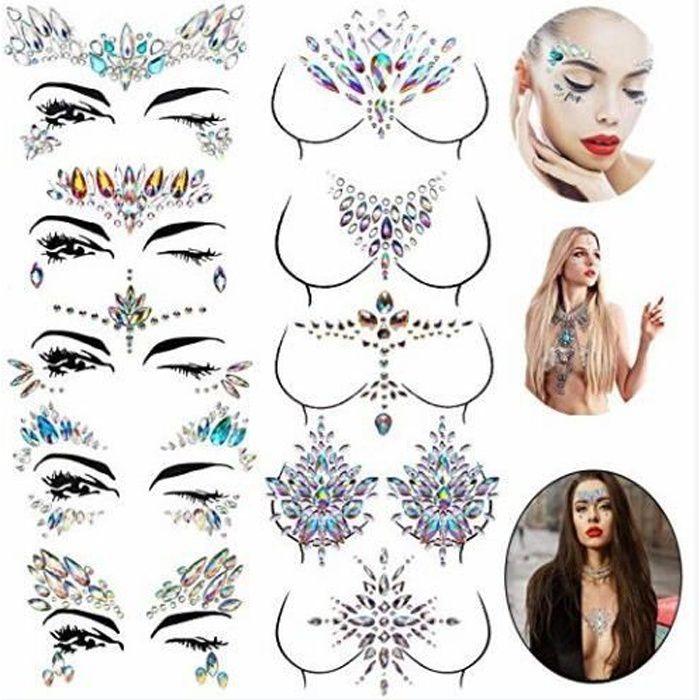 Warsoniod strass autocollant visage, bijoux de poitrine, Tatouage Temporaire Strass Bijoux Sein pour Femme visage Corps, 10pcs