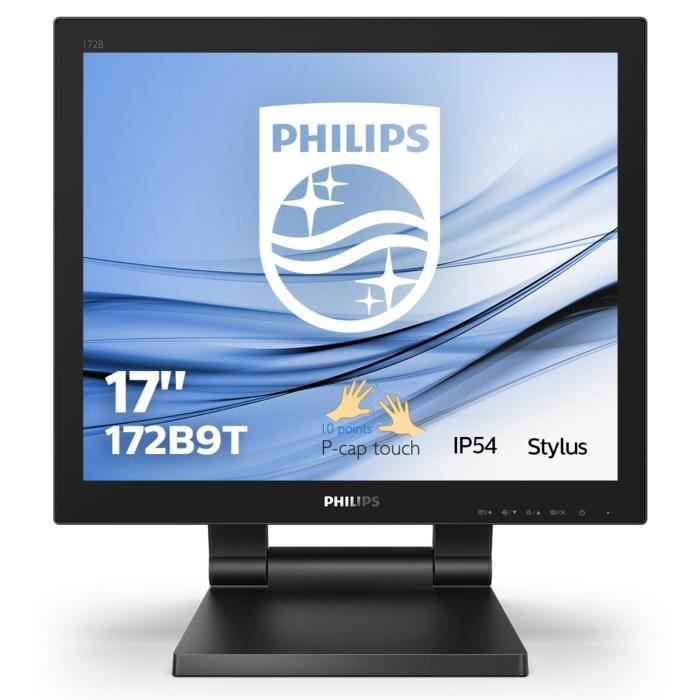 PHILIPSB Line 172B9T - Écran LED - 17- - Ecran tactile - HDMI, DVI, DisplayPort, VGA - Haut-parleurs - Texture noire