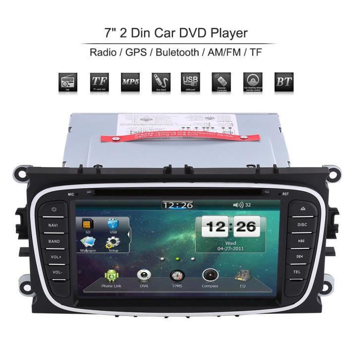 Hililand lecteur DVD de voiture GPS Lecteur DVD de voiture 2 Din 7 'avec Navigation GPS Bluetooth AM / FM pour Ford Mondeo Focus