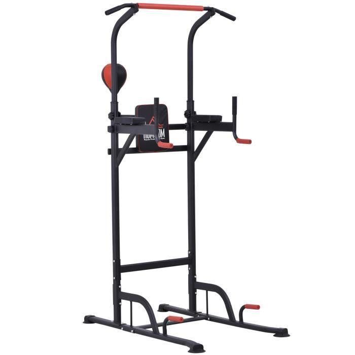 Station de traction musculation multifonctions punching ball chaise romaine hauteur réglable acier noir rouge 94x80x230cm Noir