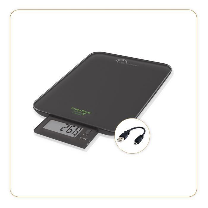 LITTLE BALANCE Balance Green Power USB retractable - Inox - Noir - 10kg