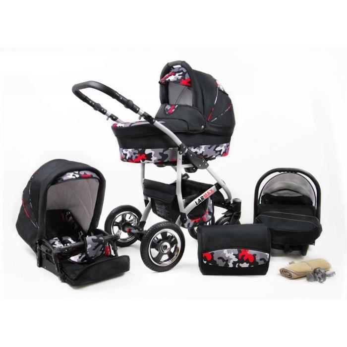 Lux4kids Poussette combinée Landau roues pivotantes Poussette Canne Nacelle Accessoires Larmax Black Moro 2en1 sans siège bébé