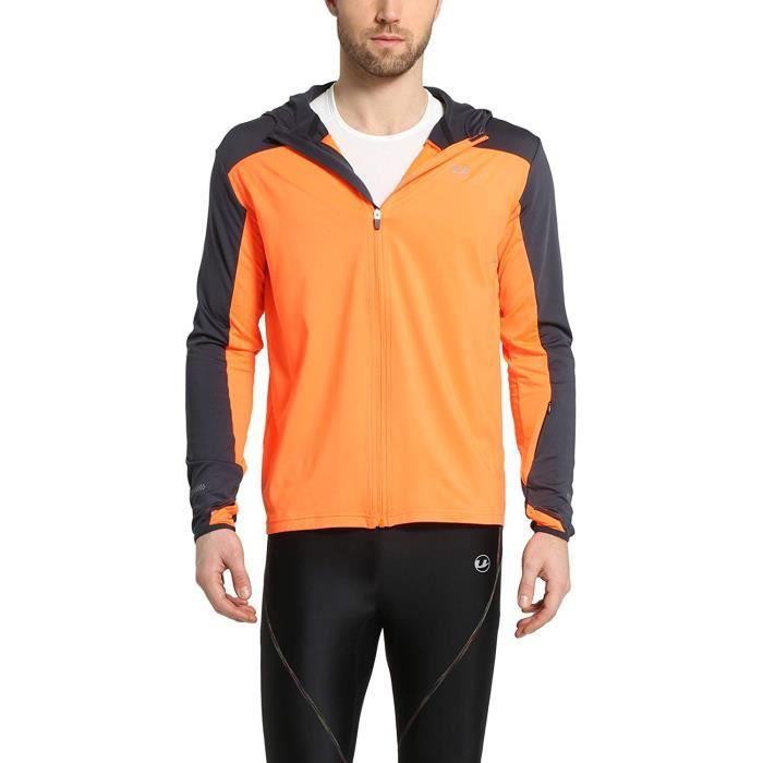 Veste De Course À Capuche, gilet à capuche running, Jersey Polaire pour Homme Taille : L Couleur : Orange, bleu marine Ultrasport