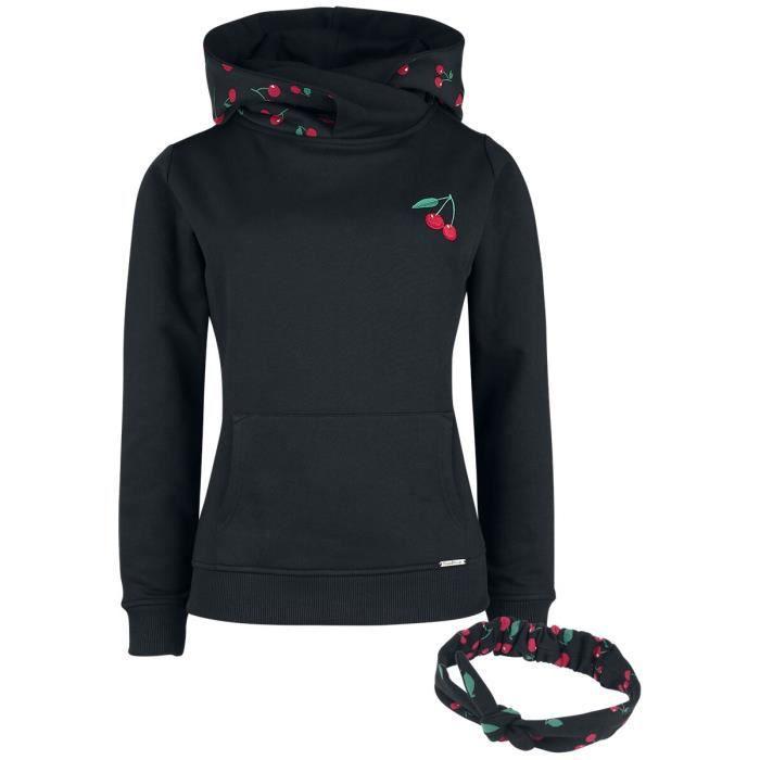 Pussy Deluxe Sweat À Capuche Col Châle & Bandeau Cerises Femme Sweat-shirt à capuche noir/rouge