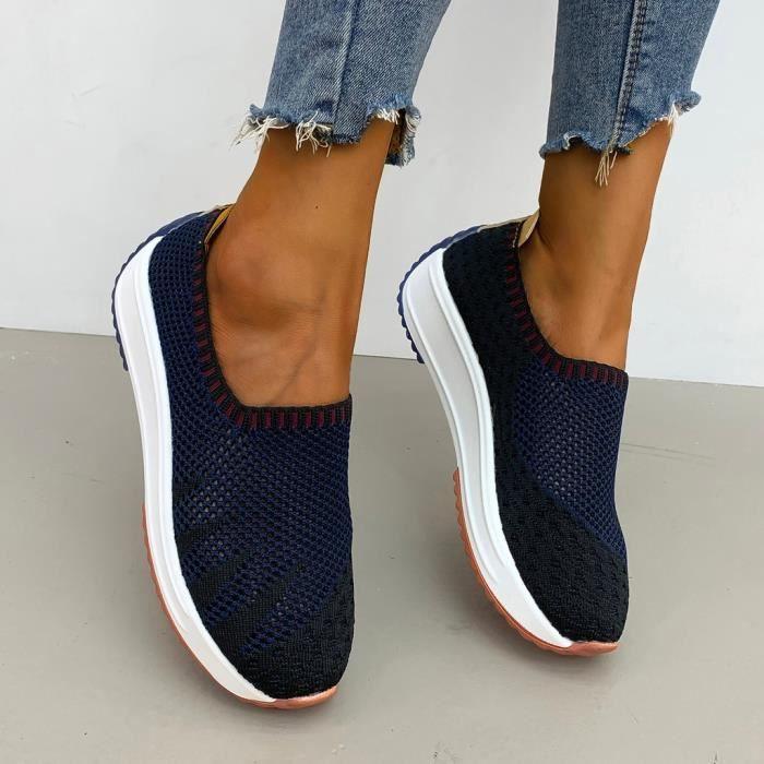 Chaussures de sport Mode Femmes Maille Casual Slip-On De Sport Runing Respirantes Baskets