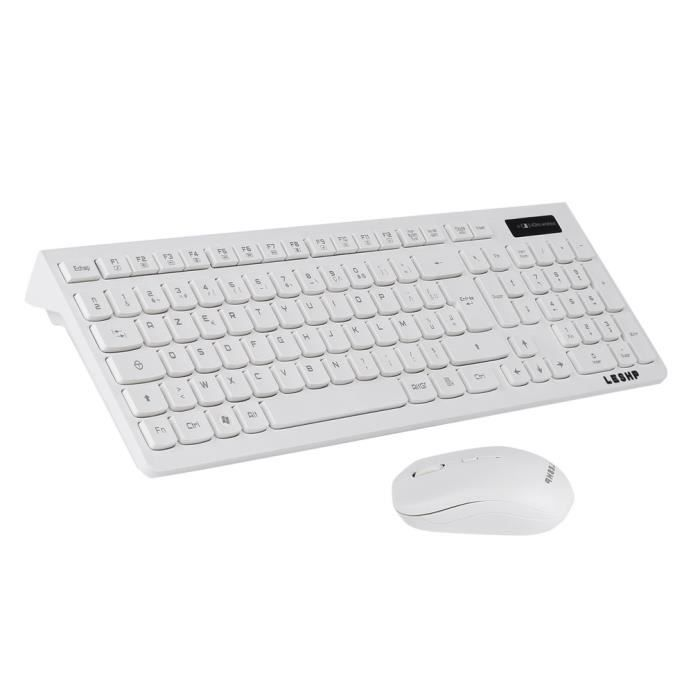LESHP Souris clavier ultra-mince sans fil 2.4G AZERTY clavier français - blanc