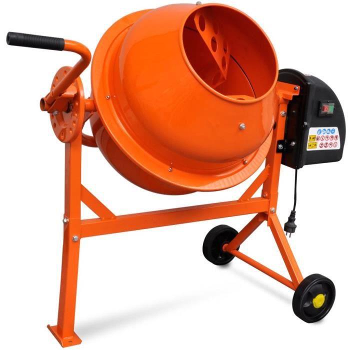 Bétonnière électrique pour professionnels et amateursélectrique 63 L 220 W Acier Orange