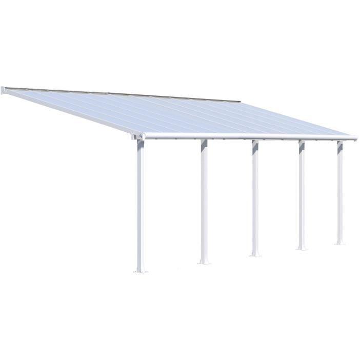 Pergola adossée Olympia 21,9 m² - Aluminium et polycarbonate - Blanc - PALRAM
