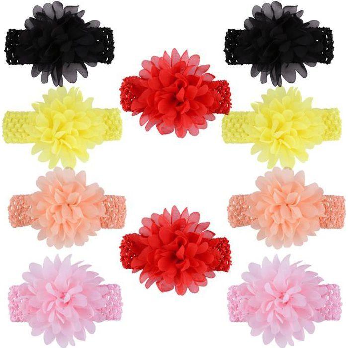 10pcs couleurs assorties Bébés filles Bandeaux en mousseline de soie Fleur dentelle bande cheveux pour nourrissons