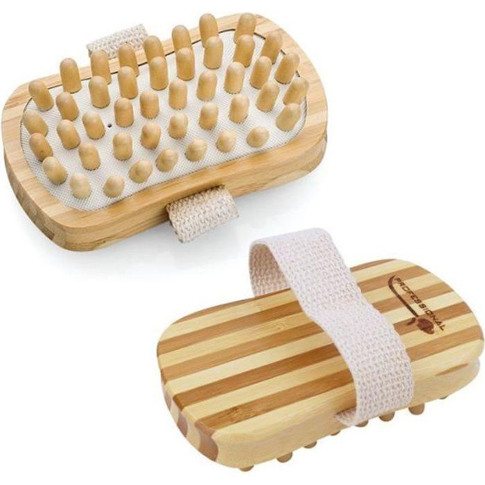 Brosse de massage et de drainage, anti cellulite en bambou 13 x 7.5 x 4 cm avec poignée de maintien