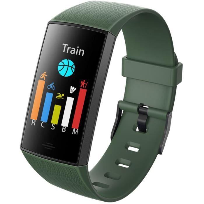 WEE'PLUG Bracelet connecté SB18+ - Multisports - Cardio au poignet - Bluetooth - Waterproof - Vert foncé