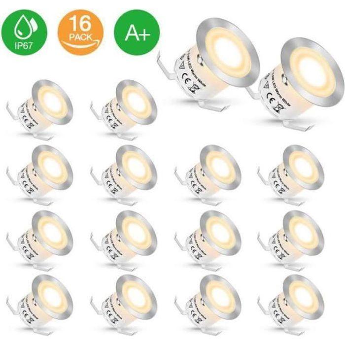 QN35895- 16 Pcs Spots LED Encastrables Extérieur Etanche IP67 pour Terrasse DC 12V Spot Extérieur Lampe de Sécurité Blanc Chaud