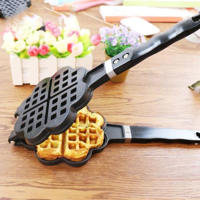 En forme de coeur bricolage gaufrier gaufrier moule à gâteau plateau de cuisson accessoires de cuisson ménagers pour gaz-CHD