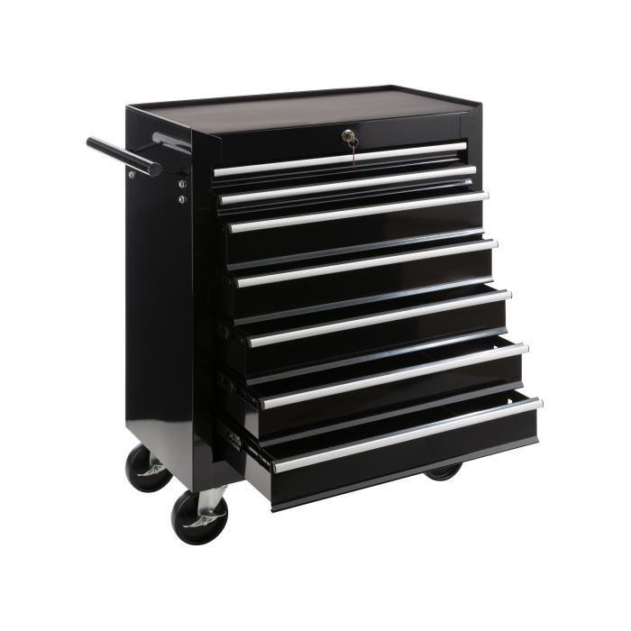 Chariot à outils vide avec 7 tiroirs et porte latéral