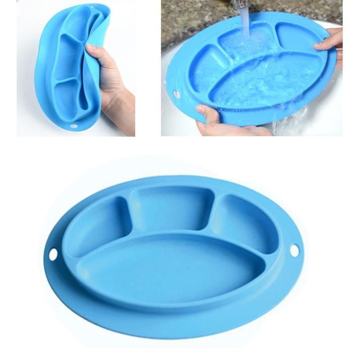 Portable Facile /à Nettoyer et Va au Lave-Vaisselle Plateau Enfant Repas bleu Napperon en Silicone Set de Table B/éb/é Assiette Antiderapante pour Chaise Haute 100/% sans BPA