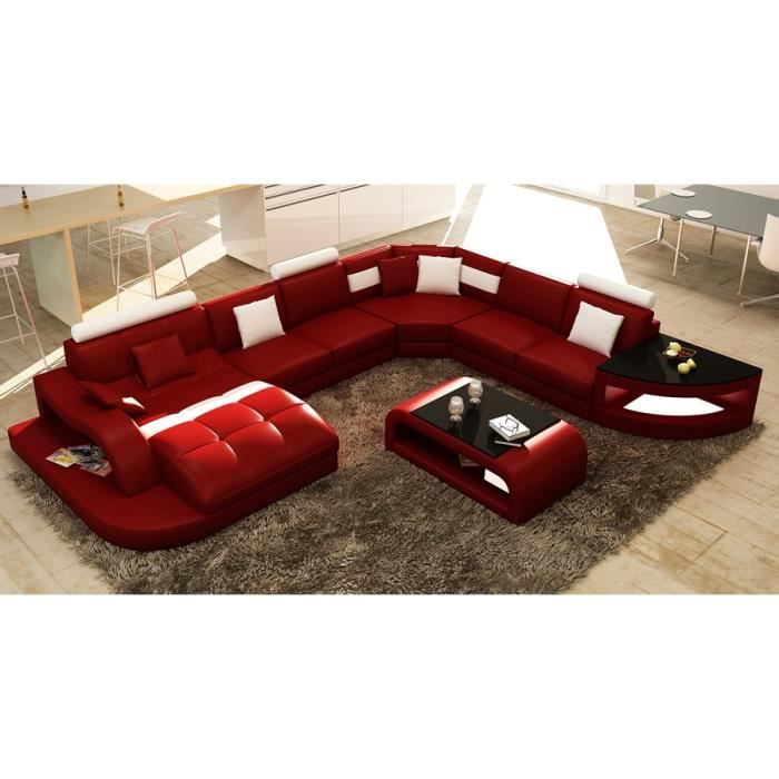 canap d 39 angle design panoramique rouge et blanc i achat. Black Bedroom Furniture Sets. Home Design Ideas