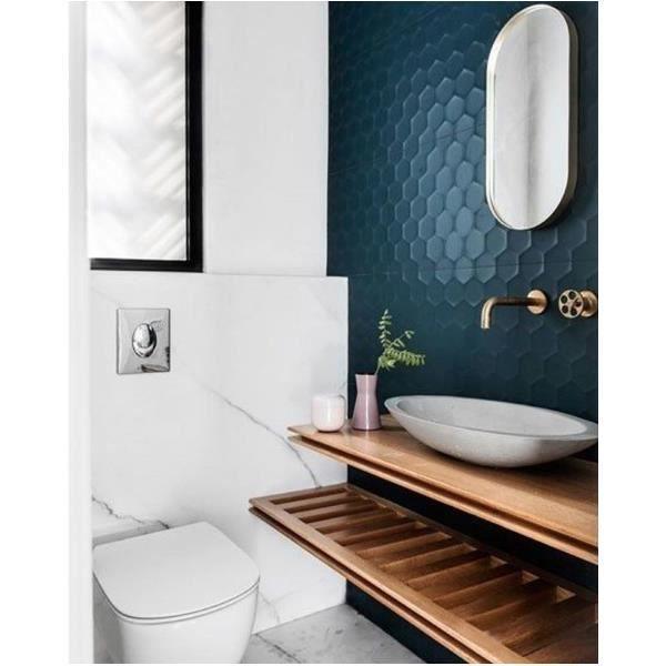4d Hexagon Blue 40x80 Cm Faience A Relief Nid D Abeilles Bleu Petrole Mate 40 X 80 Cm Mate Revetement Mural Vendu Par Boite Achat Vente Carrelage Parement 4d Hexagon Blue