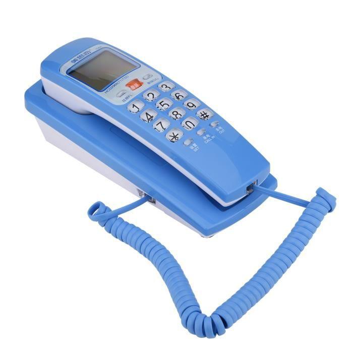 Téléphone filaire fixe pratique pour la bureau et la maison-bleu
