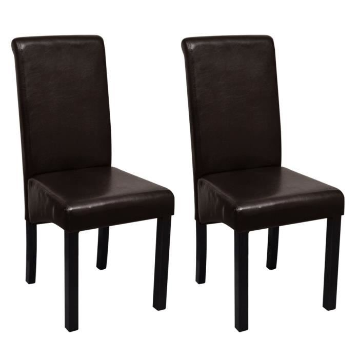 Lot De 2 Chaises En Simili Cuir Marron