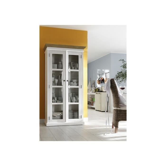 armoire vitrine bois blanc dessus teck collection leirfjord achat vente vitrine argentier. Black Bedroom Furniture Sets. Home Design Ideas