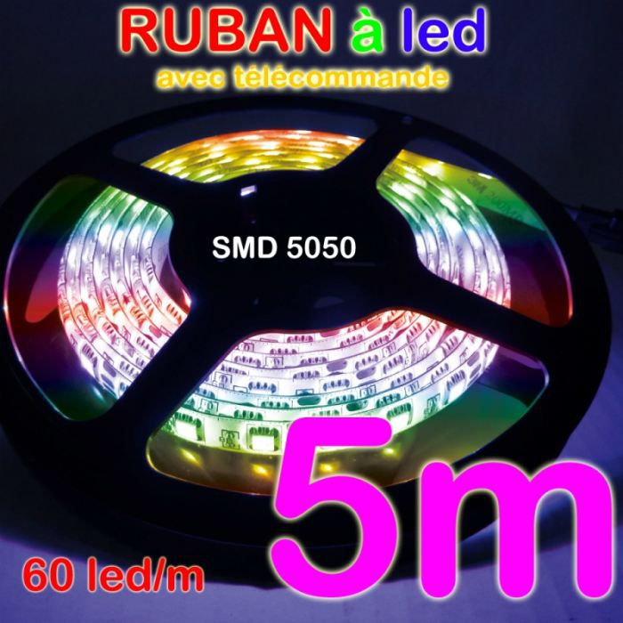 ruban led 5m rouleau bande rgb smd 5050 60led achat. Black Bedroom Furniture Sets. Home Design Ideas
