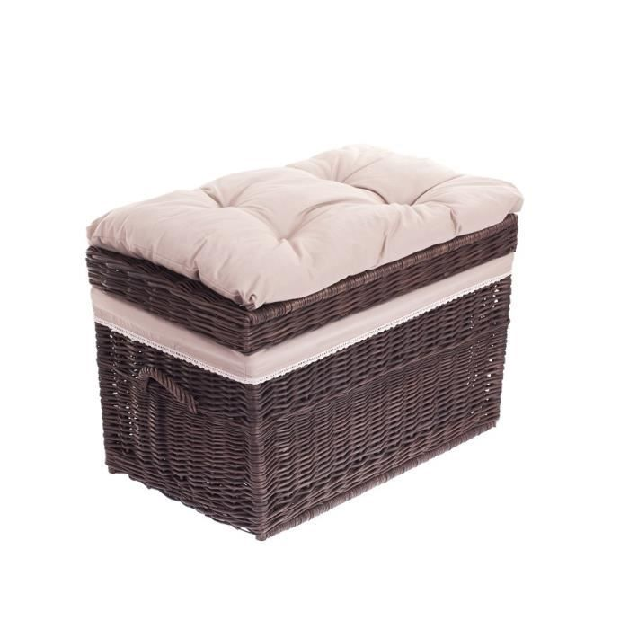 coffre jouet en osier gris grand panier corbeille malle de rangement achat vente coffre. Black Bedroom Furniture Sets. Home Design Ideas