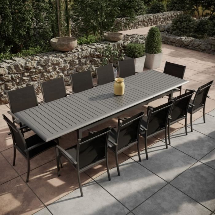 Table de jardin extensible aluminium 220-320cm + 12 ...